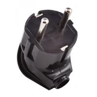Вилка электрическая Electraline боковой ввод, 16 А, 250 В, цвет чёрный.