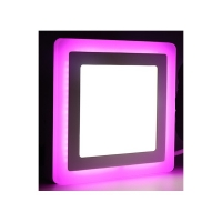 Светильник светодиодный ультратонкий с цветной  подсветкой, квадратный 6+3Вт4000К